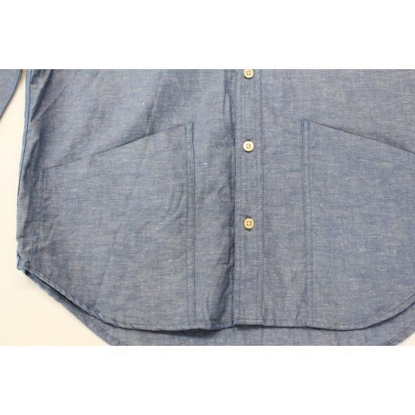 バーンズ barns outfitters ダンガリー バンドカラーシャツ|plus-c|05