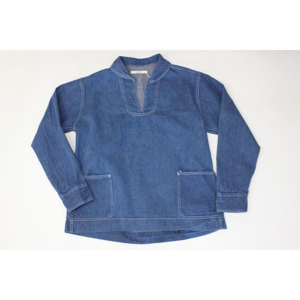 バーンズ barns outfitters   レディース デニムスキッパーVINTAGEシャツ|plus-c