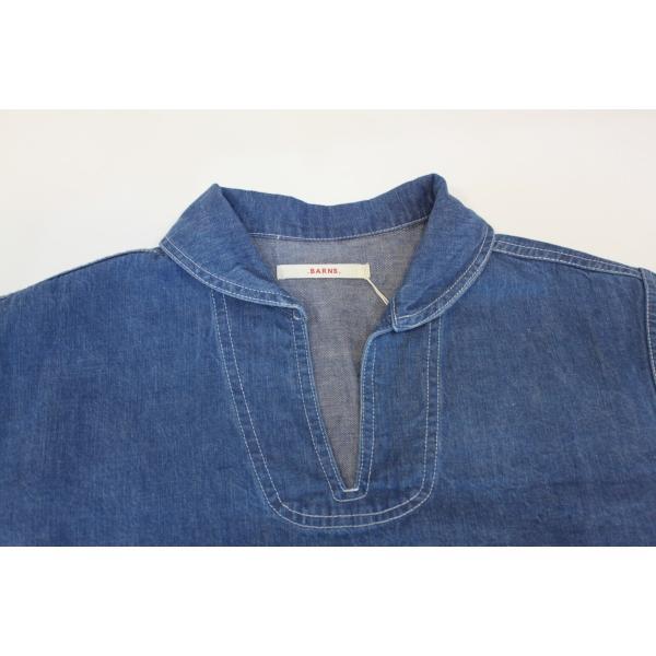 バーンズ barns outfitters   レディース デニムスキッパーVINTAGEシャツ|plus-c|03