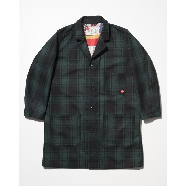 SEVESKIG(セヴシグ) WOOL CHECK LONG JACKET|plus-c
