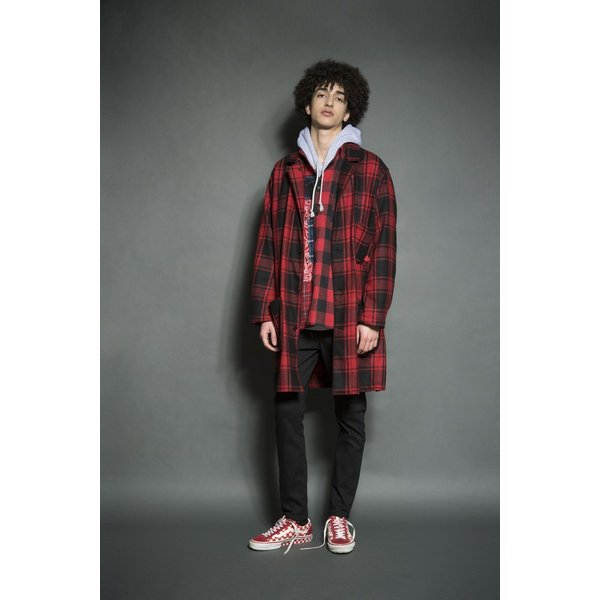 SEVESKIG(セヴシグ) WOOL CHECK LONG JACKET|plus-c|11