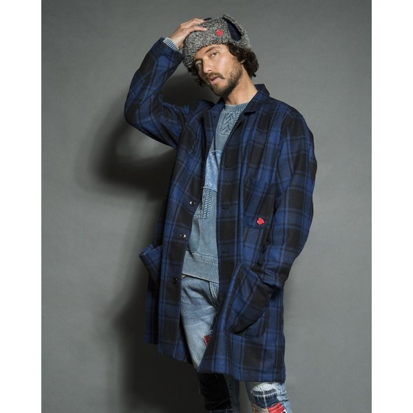 SEVESKIG(セヴシグ) WOOL CHECK LONG JACKET|plus-c|08
