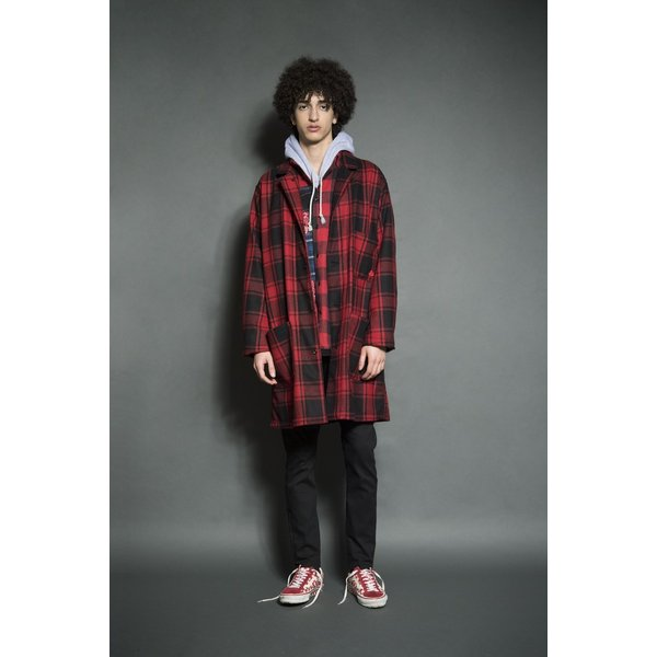 SEVESKIG(セヴシグ) WOOL CHECK LONG JACKET|plus-c|10