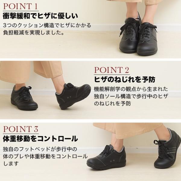 ニーサポートシューズ コンフォートシューズ 大きいサイズ レディース メンズ スニーカー 靴 黒 ブラック サポート 膝に優しい 3L 4L|plus-comfort|03