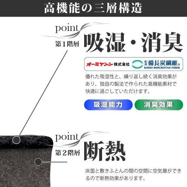日本製 すのこ ベッド すのこ型除湿マット 防ダニ抗菌防臭 備長炭 帝人 エアジョブ ベッド用 シングル 結露 すのこマット 除湿シート 吸湿シート|plus1-store|09