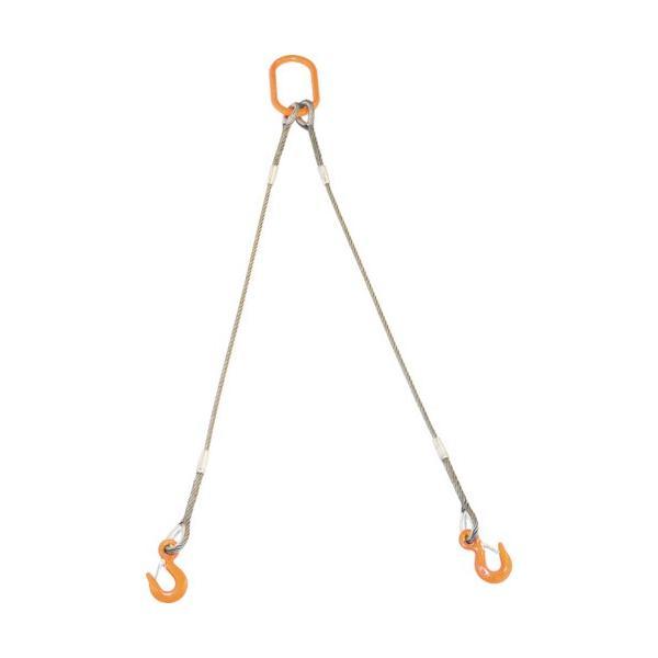 TRUSCO 2本吊りWスリング フック付き 6mmX2m GRE-2P-6S2