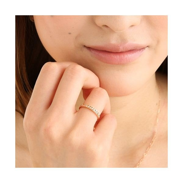 K10ピンクゴールド ダイヤリング 指輪 ハートリング 17号