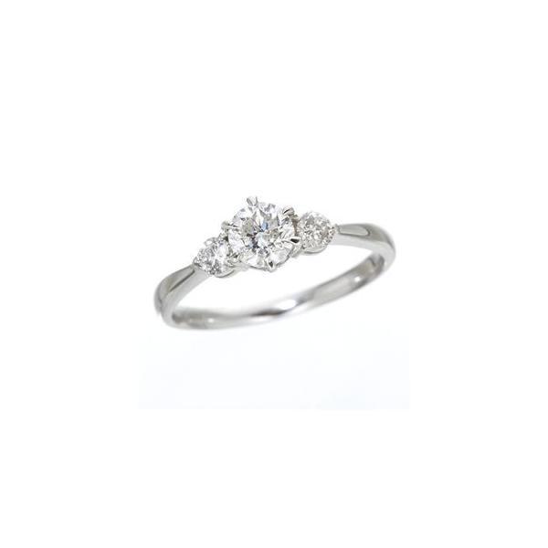 K18ホワイトゴールド0.7ct ダイヤリング 指輪 キャッスルリング 13号