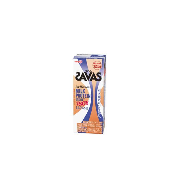 明治 SAVAS ザバス MILK PROTEIN ミルクプロテイン 脂肪0 +SOY ミルクティー風味 200ml×24本