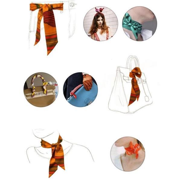 ツイリースカーフ トゥイリースカーフ バッグスカーフ バッグ用スカーフ プチスカーフ ハンドルスカーフ ロングスカーフ レディース 小物 持ち手 鞄|plusnao|05