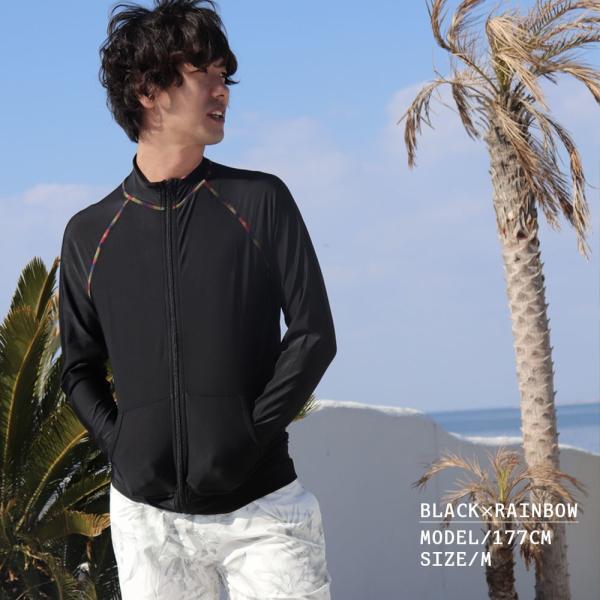 ラッシュガード メンズ 水着 UPF50+ 柄 白 ホワイト 黒 スタンドネック uvカット 大きいサイズ 日焼け止め 体型カバー 夏 ジップアップ|plusnao|02