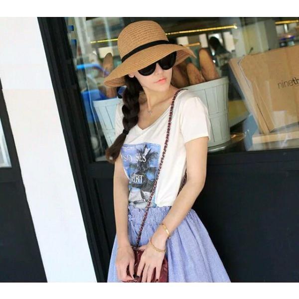 リボン付き帽子 リボン付きハット カンカン帽 つば広 つば広ハット つば広帽 女優帽 麦わら帽子 折り畳み 折りたたみ帽 折り畳み帽 日よけ 日よけ帽|plusnao|02