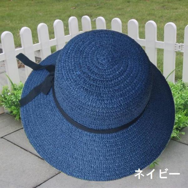 リボン付き帽子 リボン付きハット カンカン帽 つば広 つば広ハット つば広帽 女優帽 麦わら帽子 折り畳み 折りたたみ帽 折り畳み帽 日よけ 日よけ帽|plusnao|11