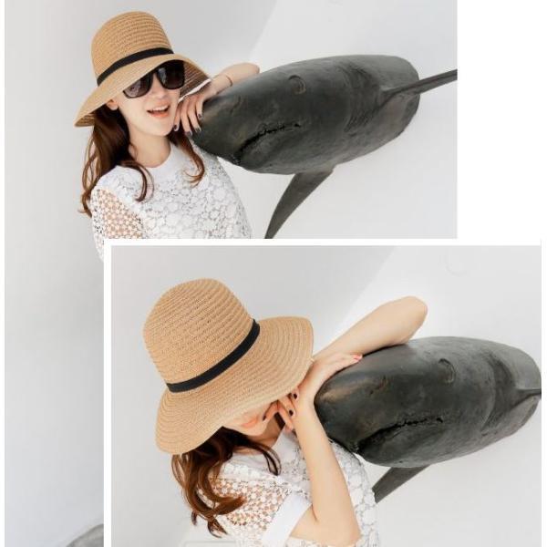 リボン付き帽子 リボン付きハット カンカン帽 つば広 つば広ハット つば広帽 女優帽 麦わら帽子 折り畳み 折りたたみ帽 折り畳み帽 日よけ 日よけ帽|plusnao|03