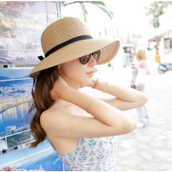 リボン付き帽子 リボン付きハット カンカン帽 つば広 つば広ハット つば広帽 女優帽 麦わら帽子 折り畳み 折りたたみ帽 折り畳み帽 日よけ 日よけ帽|plusnao|04