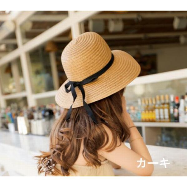 リボン付き帽子 リボン付きハット カンカン帽 つば広 つば広ハット つば広帽 女優帽 麦わら帽子 折り畳み 折りたたみ帽 折り畳み帽 日よけ 日よけ帽|plusnao|06