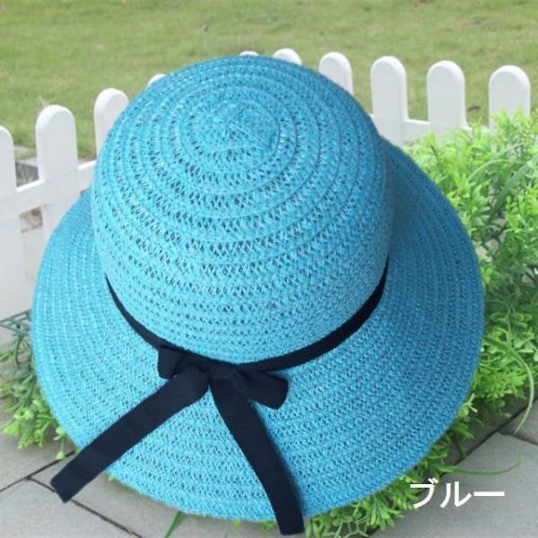 リボン付き帽子 リボン付きハット カンカン帽 つば広 つば広ハット つば広帽 女優帽 麦わら帽子 折り畳み 折りたたみ帽 折り畳み帽 日よけ 日よけ帽|plusnao|07