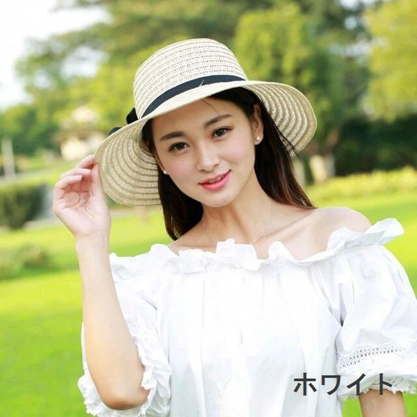 リボン付き帽子 リボン付きハット カンカン帽 つば広 つば広ハット つば広帽 女優帽 麦わら帽子 折り畳み 折りたたみ帽 折り畳み帽 日よけ 日よけ帽|plusnao|08