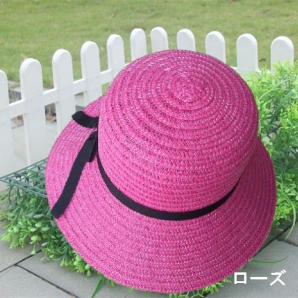 リボン付き帽子 リボン付きハット カンカン帽 つば広 つば広ハット つば広帽 女優帽 麦わら帽子 折り畳み 折りたたみ帽 折り畳み帽 日よけ 日よけ帽|plusnao|09