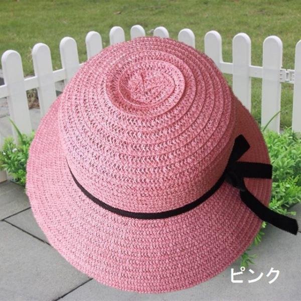 リボン付き帽子 リボン付きハット カンカン帽 つば広 つば広ハット つば広帽 女優帽 麦わら帽子 折り畳み 折りたたみ帽 折り畳み帽 日よけ 日よけ帽|plusnao|10