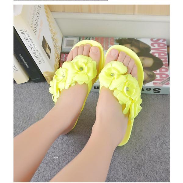 トングサンダル ビーチサンダル フラワー ビジュー付き ぺたんこ フラットソール 靴 歩きやすい レディース