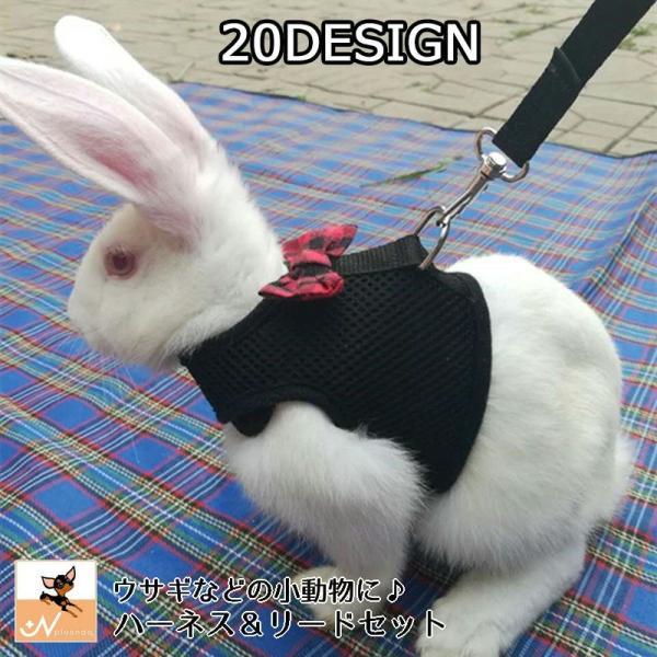 |小動物用ハーネス リード 2点セット 兎用 ウサギ ペット用品 ペットグッズ 蝶 結び かわいい …