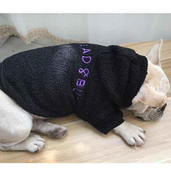 ドッグウェア パーカー 犬猫兼用 ペット用 洋服 厚手 フード付き もこもこ 飼い主とお揃いファッション 長袖 袖あり 英字刺繍 ペアルック ペア服|plusnao|06