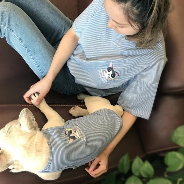 ペット用 犬猫兼用 洋服 タンクトップ ノースリーブ カットソー 袖なし ボーダー柄 刺繍 犬の服 猫の服 飼い主とお揃い可能 ペアルック ペア服 お|plusnao|02