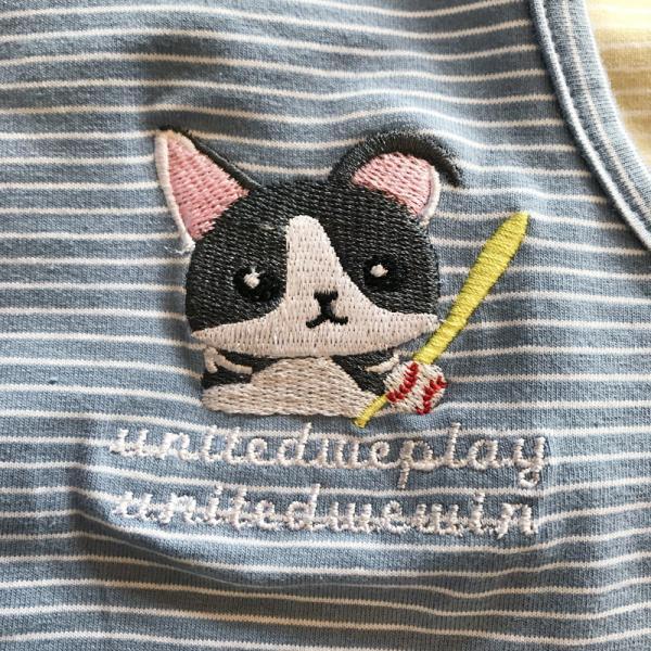 ペット用 犬猫兼用 洋服 タンクトップ ノースリーブ カットソー 袖なし ボーダー柄 刺繍 犬の服 猫の服 飼い主とお揃い可能 ペアルック ペア服 お|plusnao|12