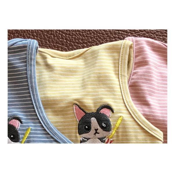 ペット用 犬猫兼用 洋服 タンクトップ ノースリーブ カットソー 袖なし ボーダー柄 刺繍 犬の服 猫の服 飼い主とお揃い可能 ペアルック ペア服 お|plusnao|13