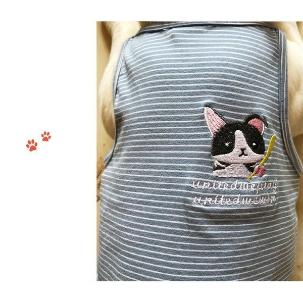 ペット用 犬猫兼用 洋服 タンクトップ ノースリーブ カットソー 袖なし ボーダー柄 刺繍 犬の服 猫の服 飼い主とお揃い可能 ペアルック ペア服 お|plusnao|15