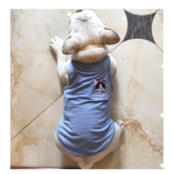ペット用 犬猫兼用 洋服 タンクトップ ノースリーブ カットソー 袖なし ボーダー柄 刺繍 犬の服 猫の服 飼い主とお揃い可能 ペアルック ペア服 お|plusnao|08