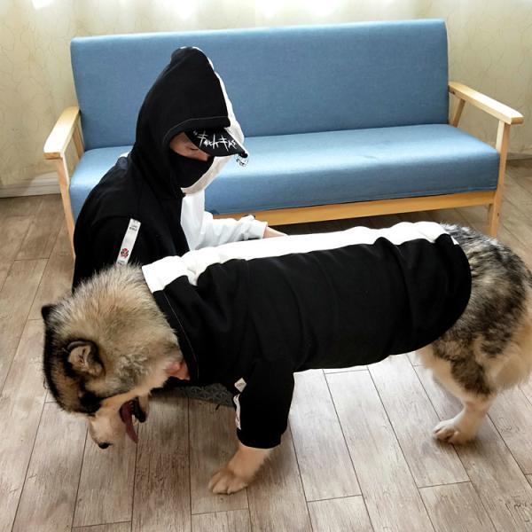 ペットウェア 犬服 パーカー ペア バイカラー 飼い主とお揃い 双子コーデ フード付き ペットウェア ドッグウェア ペット ペット用品 ペット服 長袖 plusnao 11