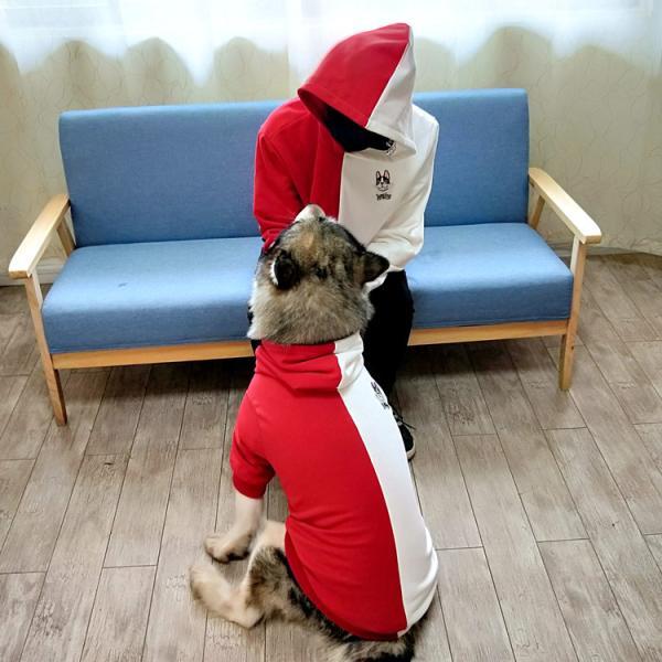 ペットウェア 犬服 パーカー ペア バイカラー 飼い主とお揃い 双子コーデ フード付き ペットウェア ドッグウェア ペット ペット用品 ペット服 長袖 plusnao 14