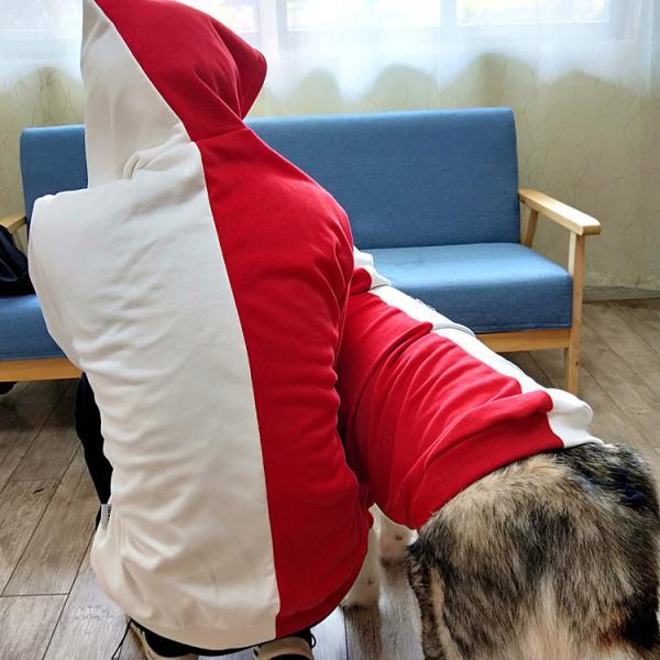 ペットウェア 犬服 パーカー ペア バイカラー 飼い主とお揃い 双子コーデ フード付き ペットウェア ドッグウェア ペット ペット用品 ペット服 長袖 plusnao 17