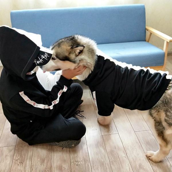 ペットウェア 犬服 パーカー ペア バイカラー 飼い主とお揃い 双子コーデ フード付き ペットウェア ドッグウェア ペット ペット用品 ペット服 長袖 plusnao 03