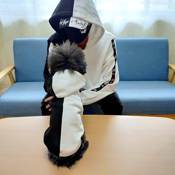 ペットウェア 犬服 パーカー ペア バイカラー 飼い主とお揃い 双子コーデ フード付き ペットウェア ドッグウェア ペット ペット用品 ペット服 長袖 plusnao 08