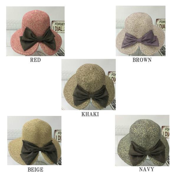 リボン付き麦わら帽子 ペーパーハット 折りたたみ かばん収納OK つば広 UV UV対策 UVカット 紫外線 紫外線対策 日よけ 小顔 小顔効果 麦わ|plusnao|03
