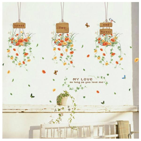ウォールステッカー ウォールシール 壁シール 壁紙シール 壁面装飾 壁装飾 室内装飾 お花 フラワーデザイン 蝶 ちょうちょ バタフライ ナチュラル|plusnao|02