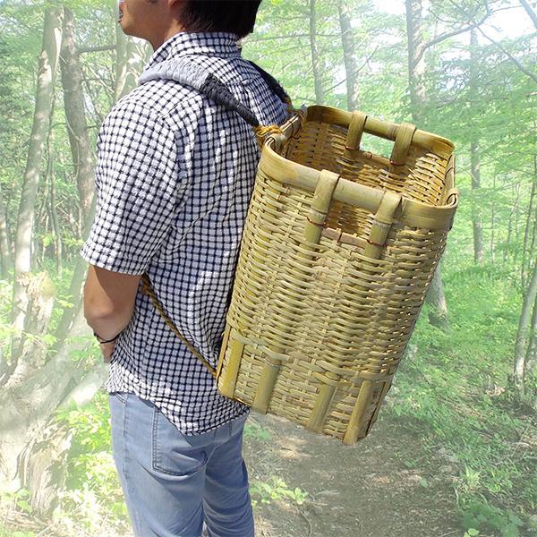 竹製 背負い籠 角小 31cm×23cm×高さ38cm 収穫かご 竹籠 渋YD