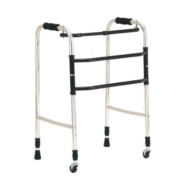 歩行器 アルミ製 交互歩行器 AL-100S 折り畳み クリスケアー キャスター グリップ 歩行補助 リハビリ クリスタル産業 代引不可