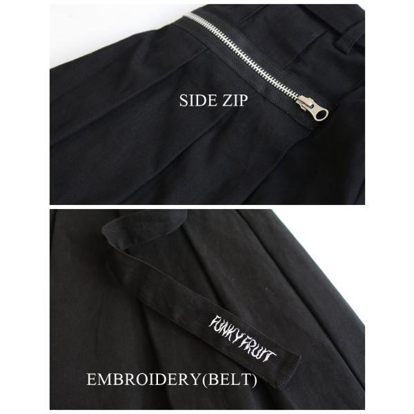 2020S/S新作 ファンキーフルーツオリジナル ロゴ刺繍ベルト付きストレッチサージZIPワイドパンツ/メール便不可/tpt1535/07n|pmcorporation|16