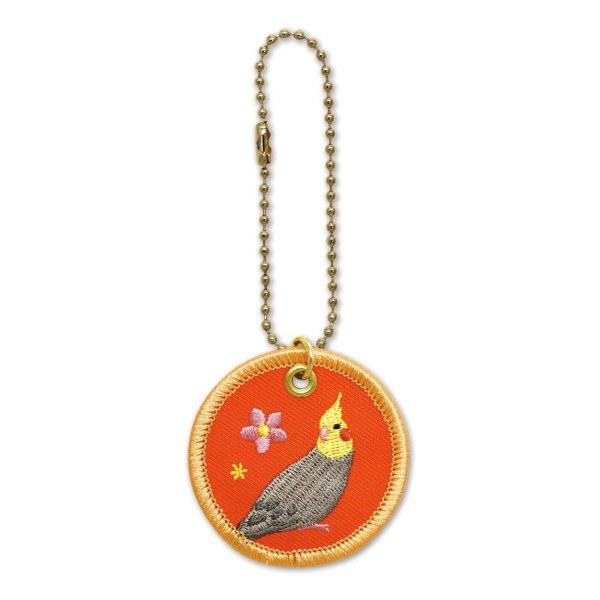 鳥 pi ワッペンキーホルダー(オカメグレー)RB-KH013 キャラクター グッズ メール便OK