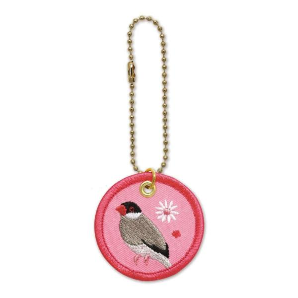 鳥 pi ワッペンキーホルダー(文鳥桜)RB-KH015 キャラクター グッズ メール便OK