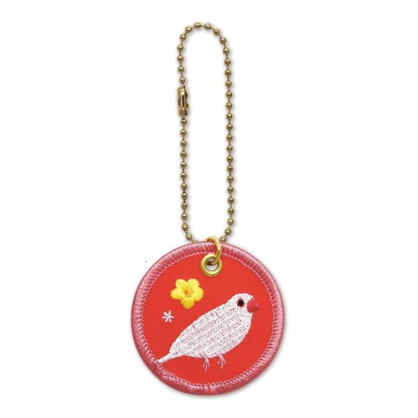 鳥 pi ワッペンキーホルダー(文鳥白)RB-KH016 キャラクター グッズ メール便OK