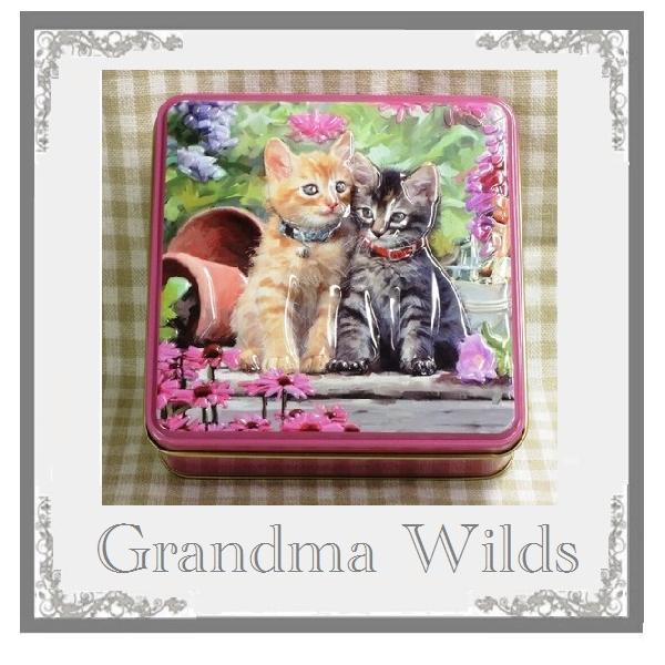 アメリカンショートヘアー缶入りクッキー Grandma WIlds グランマワイルズ ホワイトデー お返し プレゼント 11.5cmx11.5cm缶レターパック520で2個可