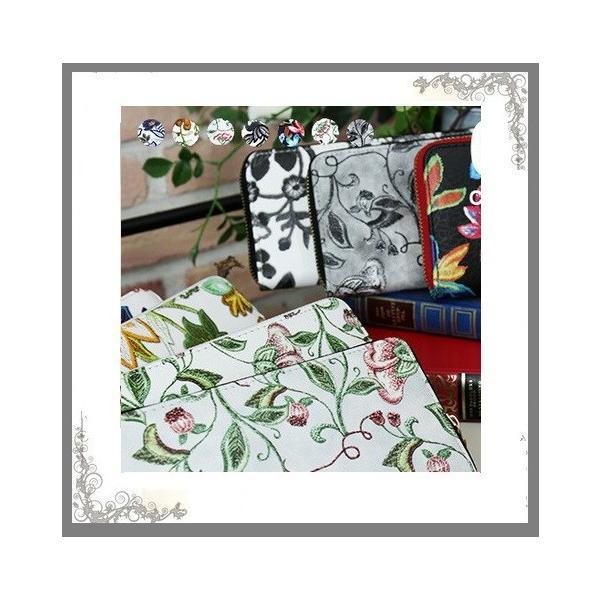 レデイース財布 ラウンド財布 花刺繍柄プリント長財布 お届け方法ヤマトネコポス