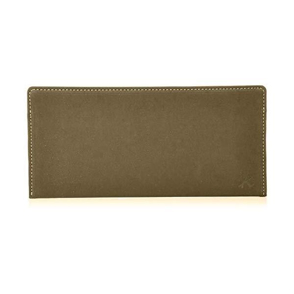 キタムラ 長財布(札入れ)スエードのような風合いPH0667カーキ/ベージュステッチ 緑 33501
