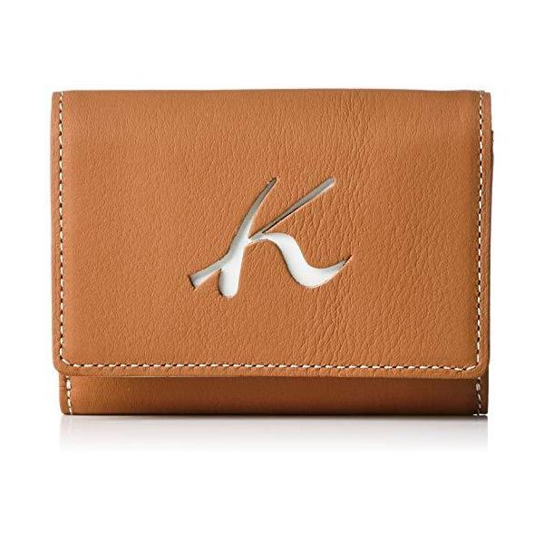キタムラ 三折財布天然素材独特の風合いPH0673キャメル/ベージュステッチ 茶色 61501