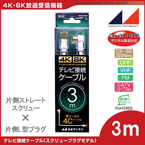 日本アンテナ 4K8K対応テレビ接続ケーブル4C3m 片側ストレートスクリュ